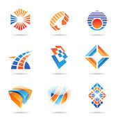 různé oranžové a modré abstraktní ikony, sada 8