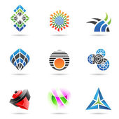 různé barevné abstraktní ikony, sada 17