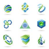 abstraktní modré a zelené ikony nastavit 11