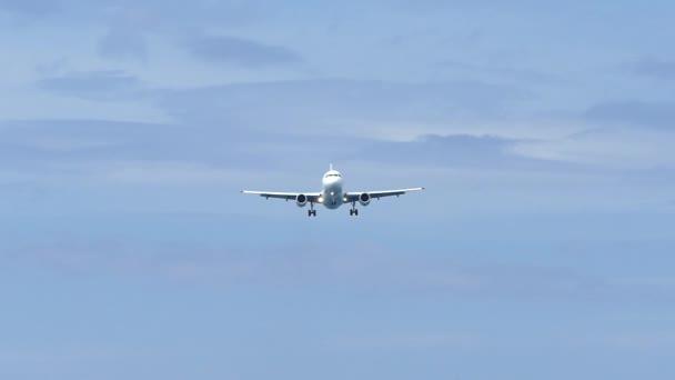 slow motion footage plane approaching landing