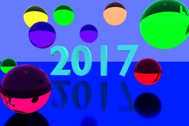 3D rendering of colorful glass balls on reflective surface and the year 2017