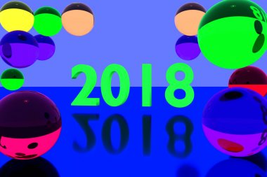 3D rendering of colorful glass balls on reflective surface and the year 2018