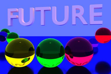 3D rendering of colorful glass balls on reflective surface and the English word FUTURE
