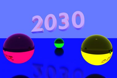 3D rendering of colorful glass balls on reflective surface and the year 2030