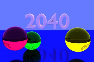3D rendering of colorful glass balls on reflective surface and the year 2040