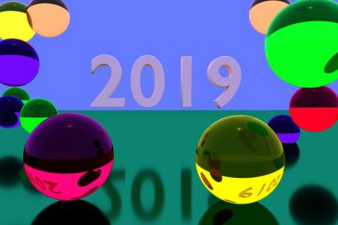 3D rendering of colorful glass balls on reflective surface and the year 2019