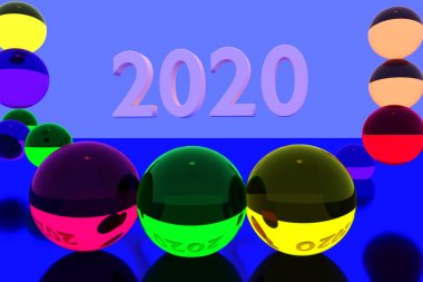 3D rendering of colorful glass balls on reflective surface and the year 2020