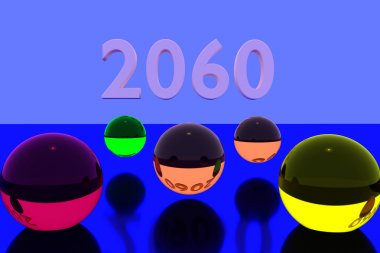 3D rendering of colorful glass balls on reflective surface and the year 2060