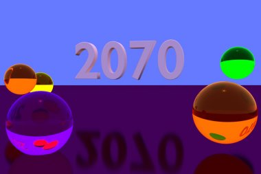 3D rendering of colorful glass balls on reflective surface: 2070