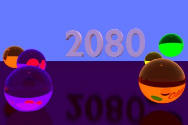 3D rendering of colorful glass balls on reflective surface: 2080