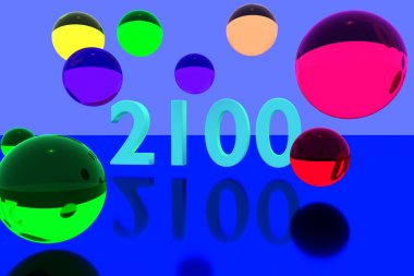 3D rendering of colorful balls and the year 2100