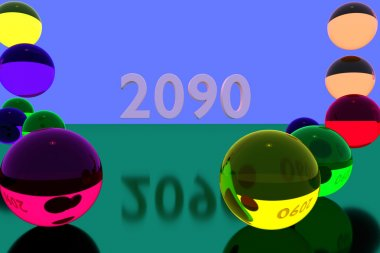 3D rendering of colorful balls and the year 2090