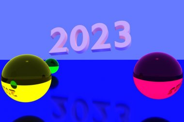 3D rendering of colorful glass balls on reflective surface and the year 2023