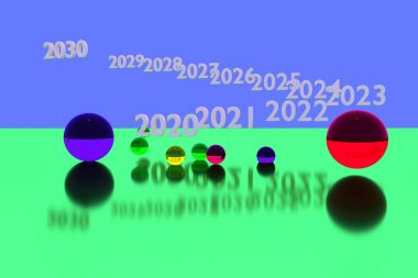 colorful glass balls on reflective surface and the years from 2020 to 2030