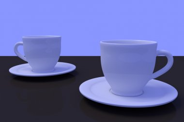 white coffee cups with saucer on a dark reflective surface