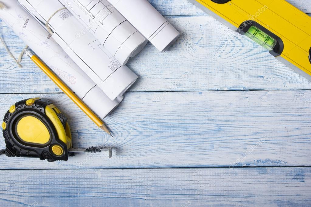 Architect worplace top view architectural project blueprints architectural project blueprints blueprint rolls on wooden desk table construction background engineering tools copy space photo by perhapzz malvernweather Gallery