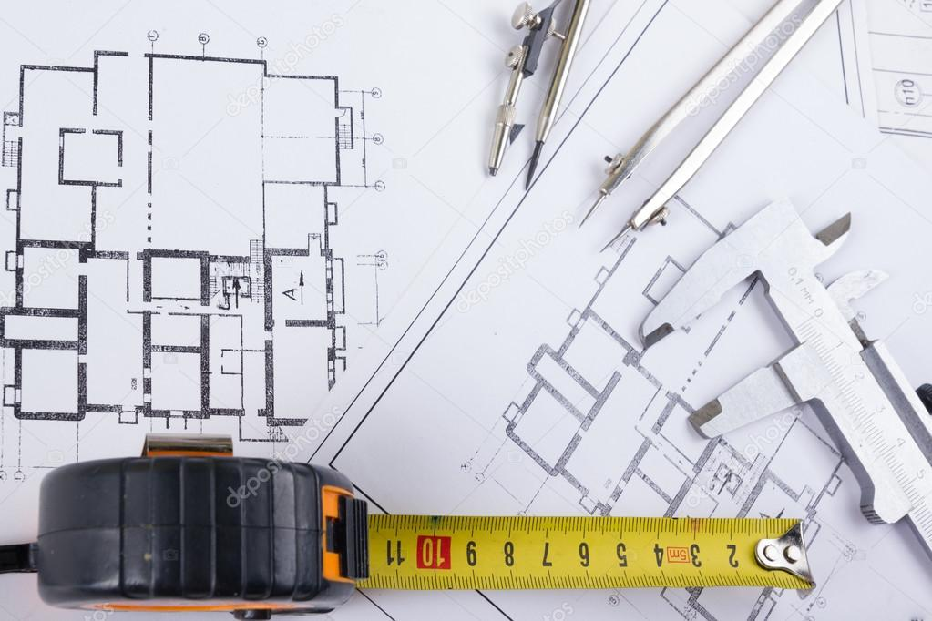 Architectural project, blueprints, blueprint rolls and divider