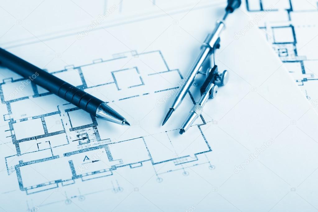 Architectural project blueprints blueprint rolls on plans architectural project blueprints blueprint rolls on plans engineering tools view from the top copy space construction background foto de perhapzz malvernweather Gallery