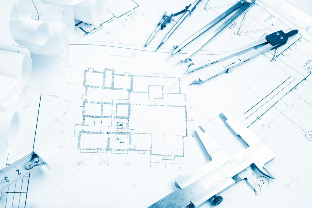 Architectural project blueprints blueprint rolls and divider architectural project blueprints blueprint rolls and divider compass calipers folding ruler on malvernweather Gallery
