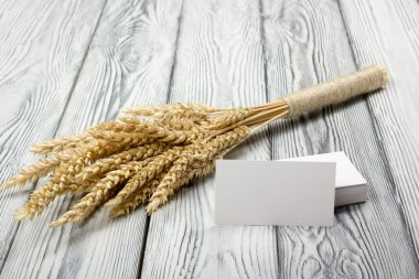Wheat Ears on Wooden Table with blank business cards. Sheaf of Wheat over Wood Background. Harvest concept.