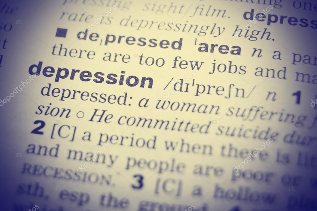 Close Up Of Word In English Dictionary. Depression, Definition And  Transcription U2014 Stock