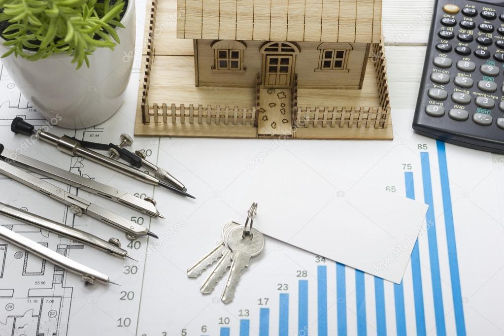 Model House, Construction Plan For House Building, Keys, Blank Business  Card, Divider