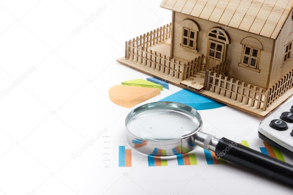 Musterhaus, Bauplan für Hausbau, Lupe Kompass. -Rechner. Immobilien ...
