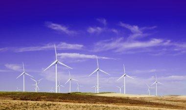 Windmills.Windfarm. Industrial Eolic installation stock vector