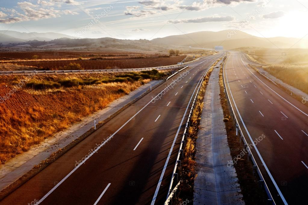 Sunset and road landscape