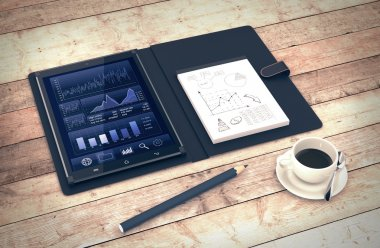 Tablet pc with a financial app and a notepad with sketches, on wooden background (3d render) stock vector