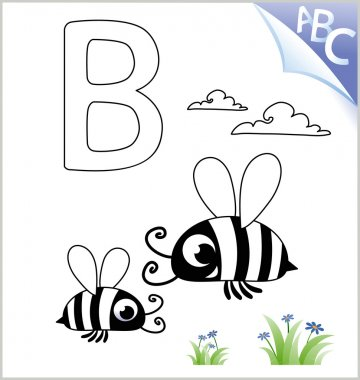 Animal Coloring Book for the kids: B for the Bee. Vector Graphic