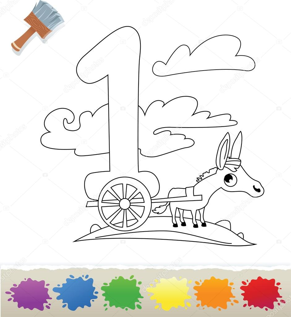collection coloring book for kids number 1 donkey u2014 stock vector