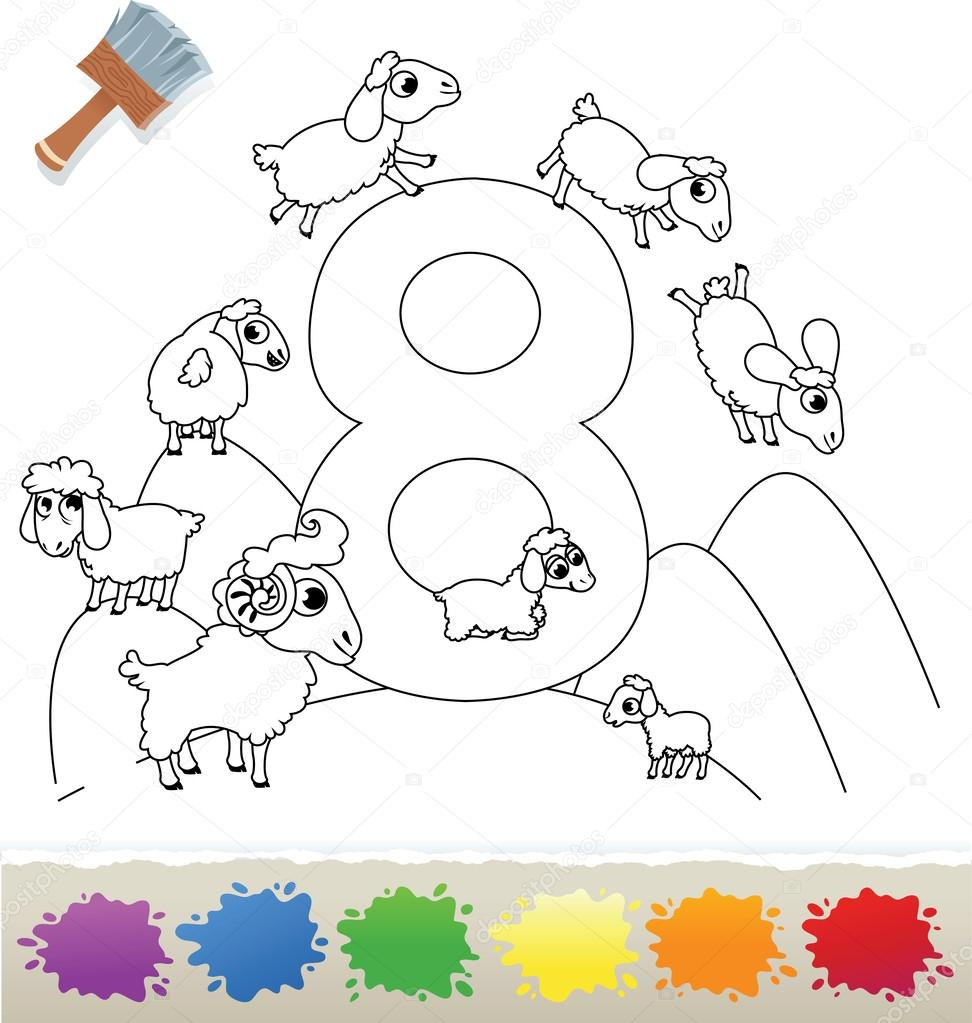 collection coloring book for kids number 8 sheeps u2014 stock vector