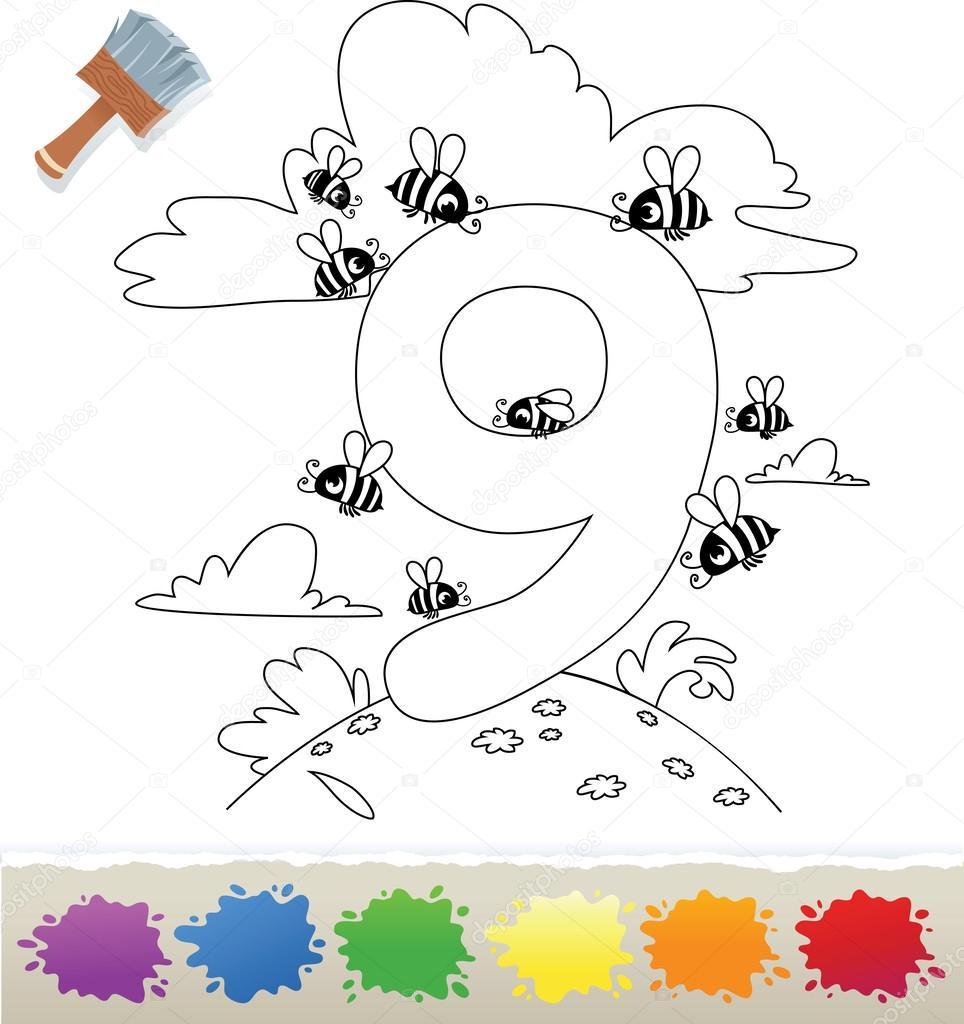 Colección libro para colorear para niños: número 9, abeja — Archivo ...