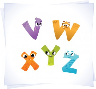 Alphabet for the kids: funny letters cartoon V-Z
