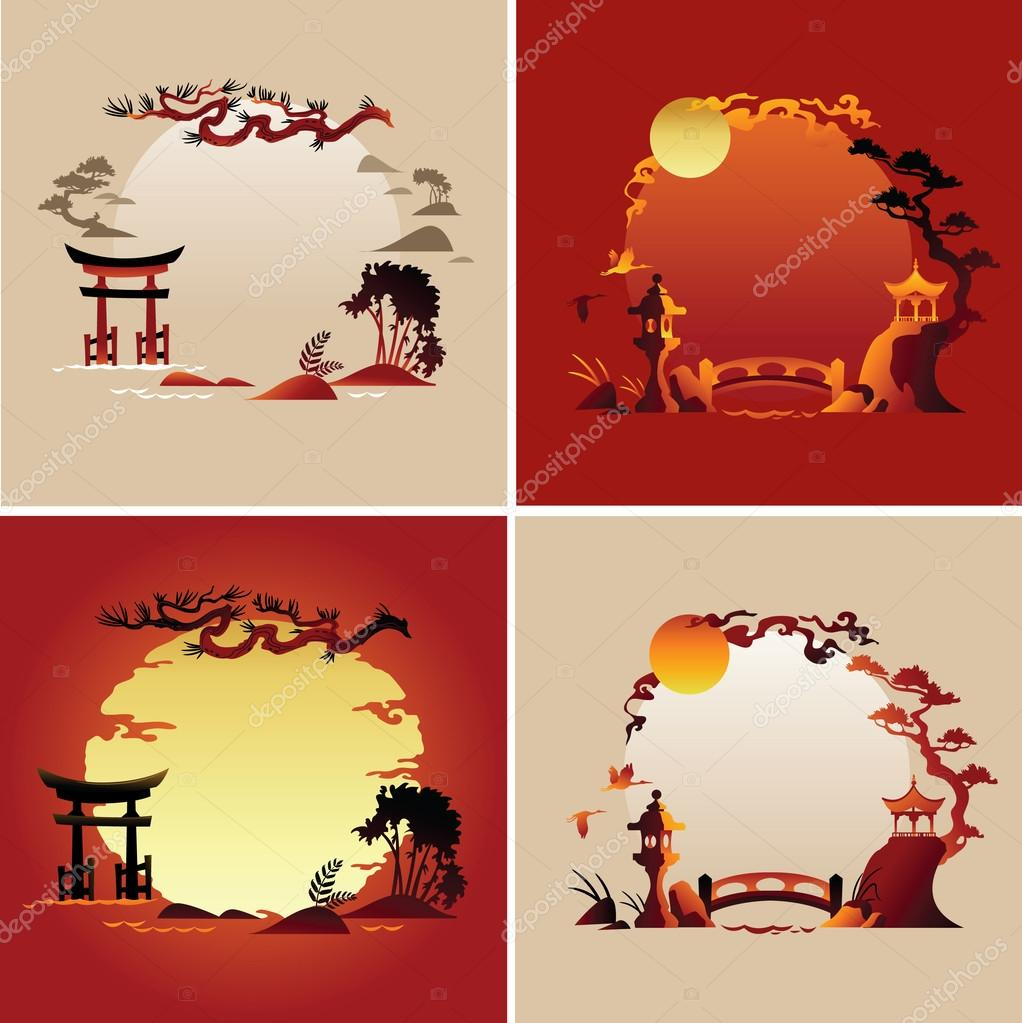 Set of Abstract japanese background - Vector illustrations