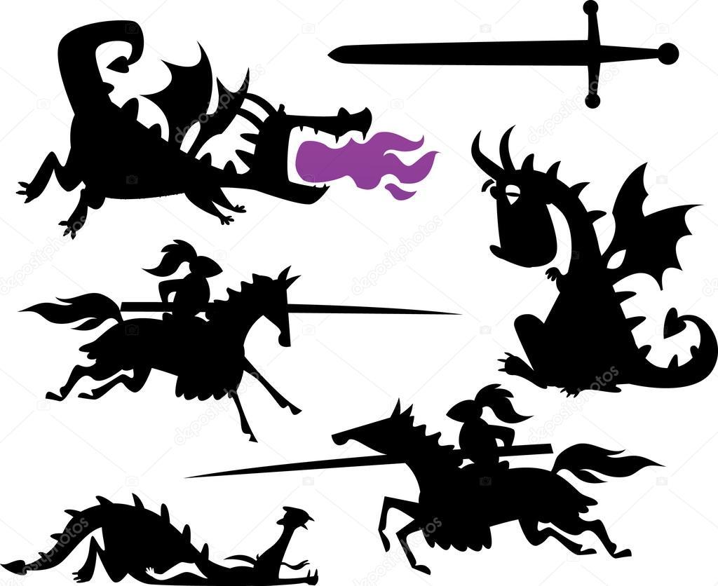 funny knight riding a horse and cartoon dragon u2014 stock vector