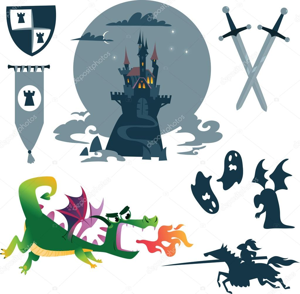 Collection of cartoon fairy tale: castle, dragon, monsters