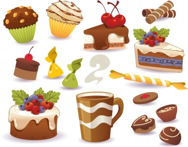 Set of cakes and other sweet food, isolated on white background