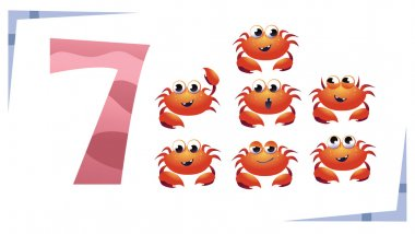 Collection number for kids: Sea animals - number 7, crab. Vector