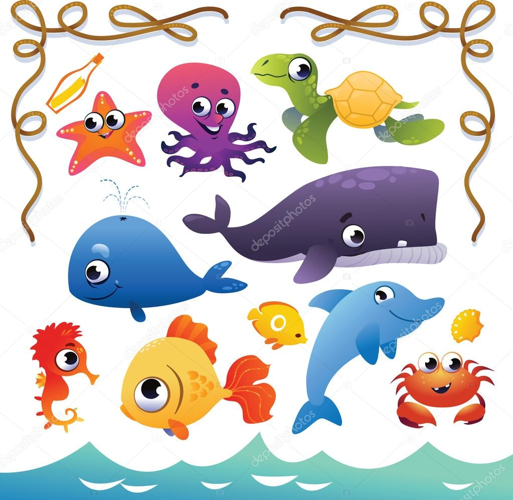 Vector Set of cute sea animals and rope frame.