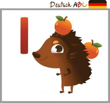 German or Deutsch Zoo Animals Alphabet for the kids: I