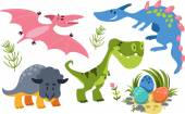 Fotografie Collection of Cute Cartoon Dinosaurs 1. Simple, isolated on whit
