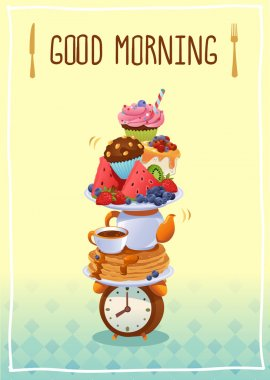 Breakfast Poster Good morning! With eggs ,coffee, fruits and cup