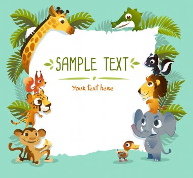Template Poster with zoo animals.