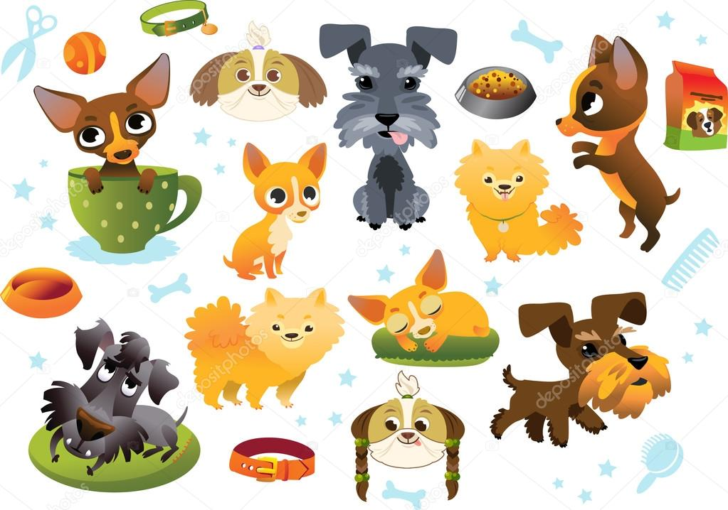 Big collection cartoon dogs