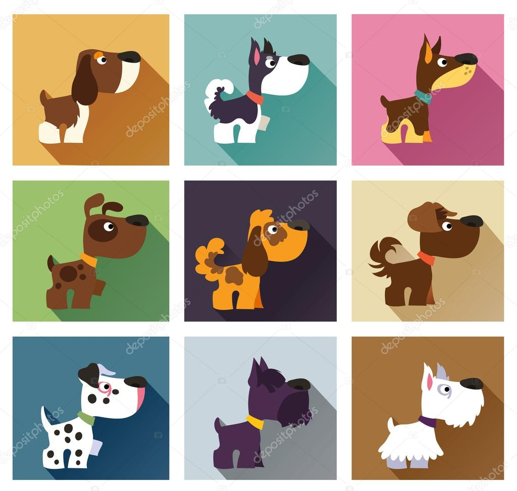 Popular breeds of dog in simple flat style. Icons isolated on wh