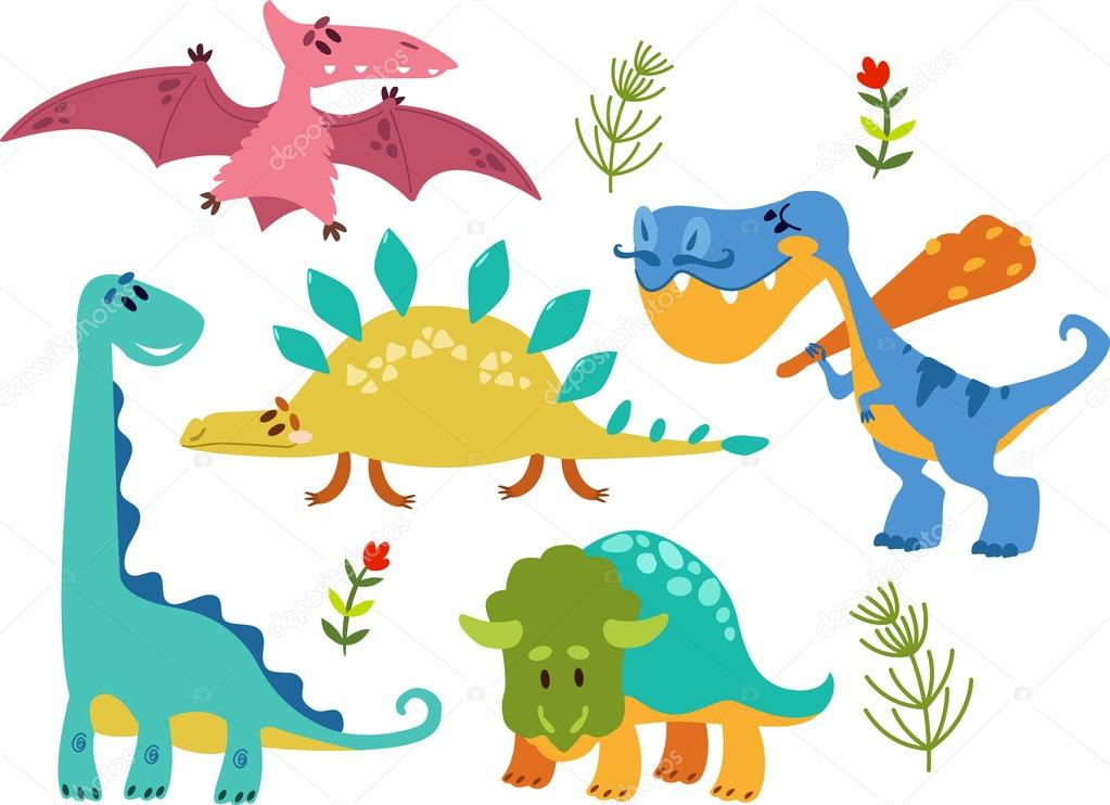 Baby Collection Of Cute Cartoon Dinosaurs 1 Simple Isolated On Whit Stock Illustration Depositphotos Collection Of Cute Cartoon Dinosaurs 1 Simple Isolated On Whit