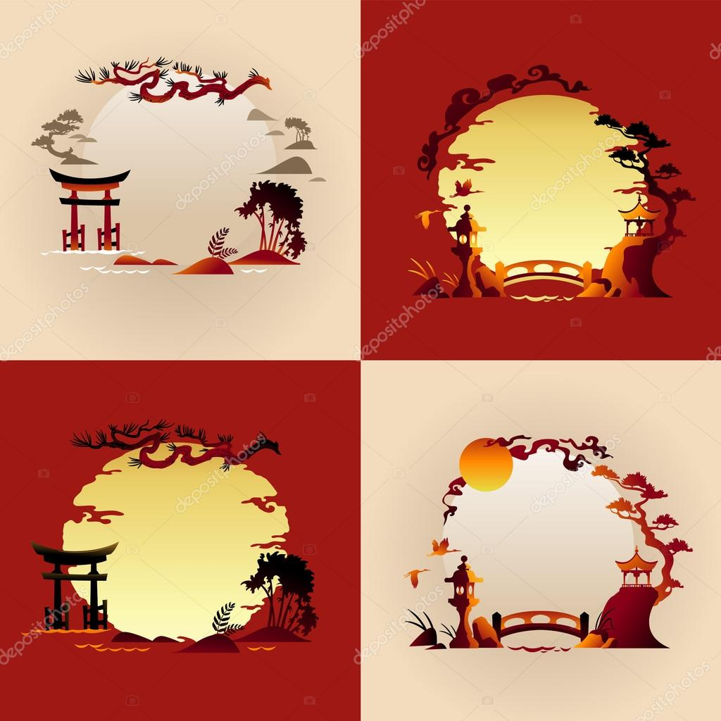 Set of Abstract Japanese backgrounds - Vector illustrations