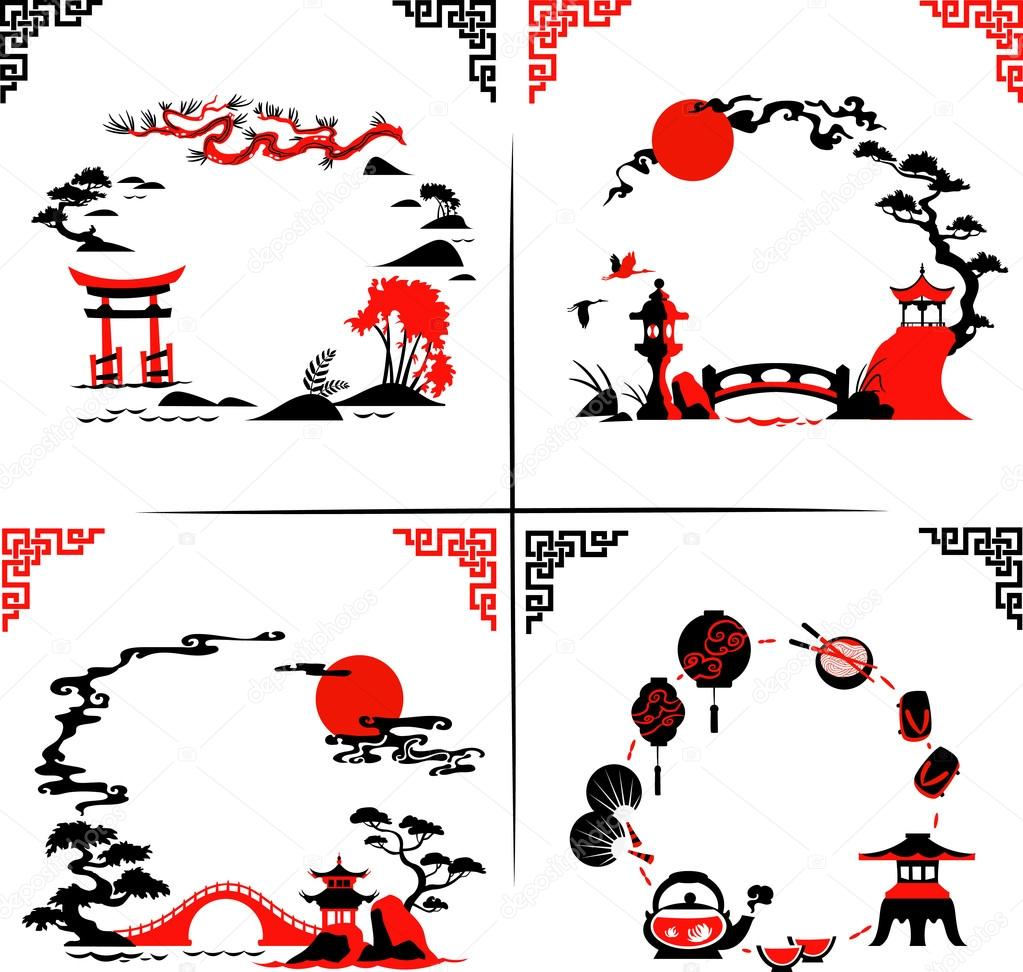 Set of Abstract japanese Silhouettes - Vector illustrations